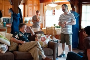 "(L to R, center) ALBERT BROOKS as Larry and writer/director JUDD APATOW on the set of ""This Is 40"" ©Universal Studios. CR: Suzanne Hanover."