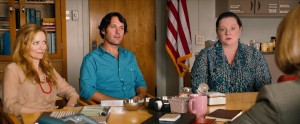 "(L to R) Debbie (LESLIE MANN) and Pete (PAUL RUDD) suffer through a school intervention with Catherine (MELISSA MCCARTHY) in ""This Is 40."" ©Universal Studios."