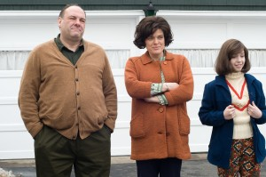 (Left to right) James Gandolfini as Pat, Molly Price as Antoinette, and Meg Guzulescu as Evelyn in NOT FADE AWAY. ©Paramount Vantage. CR: Barry Wetcher.