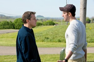 "(l to r) Matt Damon stars as Steve Butker and John Krasinski stars as Dustin Noble in Gus Van Sant's ""Promised Land."" ©Focus Features. CR: Scott Green."