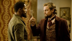 "(L-R) JAMIE FOXX and LEONARDO DiCAPRIO star in .DJANGO UNCHAINED."" ©The Weinstein Company. CR: Andrew Cooper."