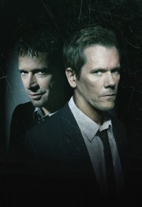 "Kevin Bacon (right) stars as an ex-FBI agent on the trail of a serial killer in Fox's ""The Following."""