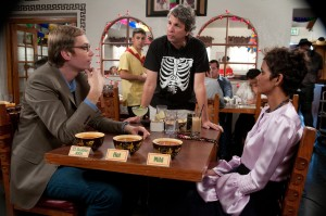 Left to right.) Star Stephen Merchant Director Charles Wessler and star Halle Berry on set of Relativity Media's MOVIE 43. © 2011 Movie Productions, LLC CR: Darren Michaels.
