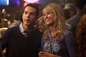 (Left to right.) Skylar Astin and Sarah Wright star in Relativity Media's 21 & Over.  ©Relativity Media. CR: John Johnson