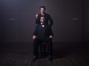"Billy Campbell portrays Abraham Lincoln and Jesse Johnson portrays John Wilkes Booth in the television film ""Killing Lincoln."" ©National Geographic Channels."