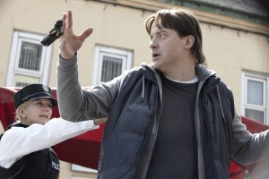 "Brendan Fraser is surprised by police in ""Stand Off."" ©Ketchup Entertainment."