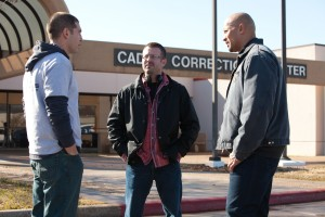 "(L-R) JON BERNTHAL, Director RIC ROMAN WAUGH and DWAYNE JOHNSON on the set of ""SNITCH."" ©Summit Entertainment.CR: Steve Dieti."