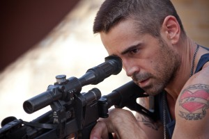 "Colin Farrell aims for his target in Niels Arden Oplev's ""DEAD MAN DOWN."" ©John Baer."