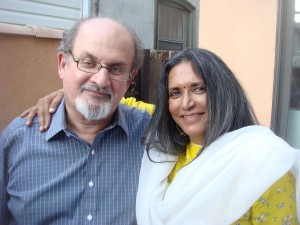 "(l-r) Author & screenwriter Salman Rushdie with director Deepa Mehta of ""Mignight's Children."" ©Paladin/108 Media"