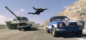 "Roman (TYRESE GIBSON) makes a death-defying leap in ""Fast & Furious 6."" ©Universal Studios."