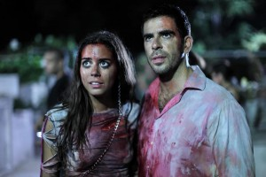 "Lorenza Izzo and Eli Roth in ""AFTERSHOCK."" ©Radius/TWC."