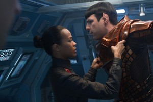 "(Left to right) Zoe Saldana is Uhura and Zachary Quinto is Spock in ""STAR TREK INTO DARKNESS."" ©Paramount Pictures. CR: Zade Rosenthal."