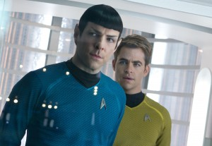 "(Left to right) Zachary Quinto is Spock and Chris Pine is Kirk in ""STAR TREK INTO DARKNESS."" ©Paramount Pictures. CR: Zade Rosenthal."
