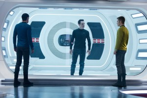 "(Left to right) Zachary Quinto is Spock, Benedict Cumberbatch is John Harrison, and Chris Pine is Kirk in ""STAR TREK INTO DARKNESS."" ©Paramount Pictures. CR: Zade Rosenthal."