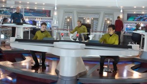 "(Front, left to right) Anton Yelchin is Chekov, Chris Pine is Kirk and John Cho is Sulu in ""STAR TREK INTO DARKNESS."" ©Paramount Pictures. CR: Zade Rosenthal."