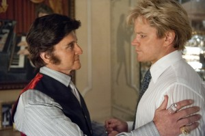 "(l-r) MICHAEL DOUGLAS and MATT DAMON star in ""BEHIND THE CANDELABRA."" ©HBO. CR: Claudette Barius."