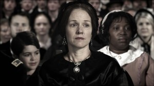 "Mary Todd Lincoln (Penelope Ann Miller) watches her husband deliver his Second Inaugural Address in ""Saving Lincoln."" ©Saving Lincoln, LLC."