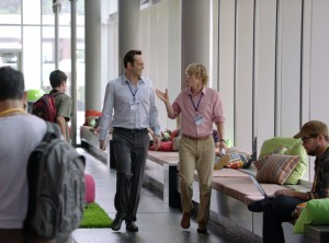 "Google interns Billy (Vince Vaughn) and Nick (Owen Wilson) strategize during a walk-a-talk through the company's hallways in ""The Internship."" ©20th Century Fox. CR: Phil Bray."
