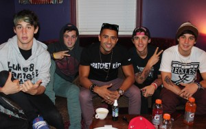 The Janoskians with Jay Sean (center) backstage at The Janoskians Concert held at the House of Blues in West Hollywood, CA on Wednesday, June 5, 2013. Photo by Peter Gonzaga_Pacific Rim Photo Press.