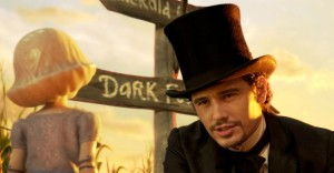 "(l-r) China Girl (Joey King) begs Oz (James Franco) to go with him to kill a witch in ""Oz The Great and Powerful."" ©Disney."