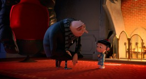 "Gru (STEVE CARELL) helps Agnes (ELSIE FISHER) with her Mother's Day speech in ""Despicable Me 2."" ©Universal Studios."