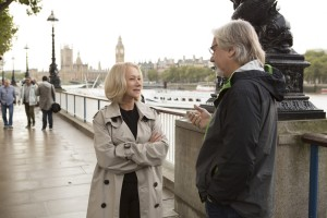 "HELEN MIRREN and Director DEAN PARISOT on the set of ""RED 2."" © 2013 Summit Entertainment, LLC. CR:: Frank Masi, SMPSP."