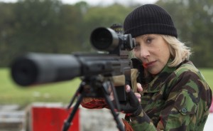 "HELEN MIRREN aims for her target in ""RED 2."" © 2013 Summit Entertainment, LLC. CR: Frank Masi, SMPSP"