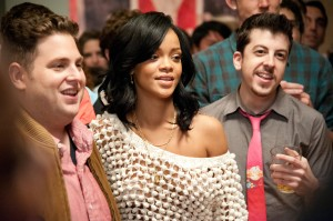 "L-r, Jonah Hill, Rhianna  and Christopher Mintz-Plasse star in Columbia Pictures' ""This Is The End."" ©Columbia Pictures."
