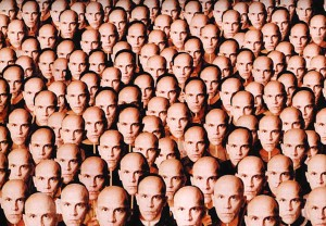 "A shot of the many faces of John Malkovich from ""Being John Malkovich."" ©Universal Studios."