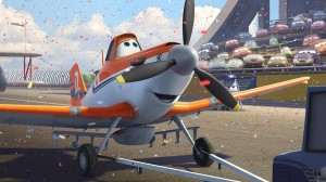 "DUSTY (voiced by Dane Cook) gets big welcome in ""PLANES."" ©2013 Disney Enterprises, Inc. All Rights Reserved."