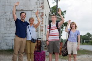 "(l-r) Jason Sudeikis, Jennifer Aniston, Will Poulter and Emma Roberts star in ""We're The Millers."" ©Warner Bros. Entertainment. CR: Michael Tackett."