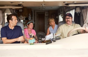 "(l-r) Jason Sudeikis, Edie Fitzgerald, Jennifer Aniston and Nick Offerman star in ""We're The Millers."" ©Warner Bros. Entertainment. CR: Michael Tackett."