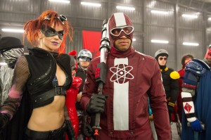 "Night Bitch (LINDY BOOTH) and Dr. Gravity (DONALD FAISON) ready for war in the follow-up to 2010's irreverent global hit: ""Kick-Ass 2"".  ©Universal Studios. CR: Daniel Smith."