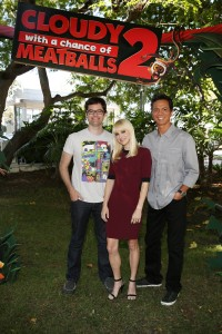"CULVER CITY, CA - August 5, 2013: Voiceover talent Bill Hader, Anna Faris and Benjamin Bratt at the press day event for Sony Pictures Animation's ""CLOUDY WITH A CHANCE OF MEATBALLS 2."" ©CTMG. CR: Ryan Miller."