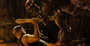 "Vin Diesel has to do battle with dangerous alien predator in ""Riddick."" ©2014 Universal Studios Home Entertainment"