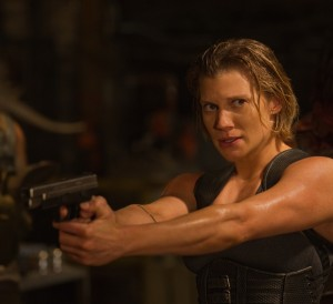 "Nordic mercenary Dahl (KATEE SACKHOFF) tracks Riddick, a dangerous, escaped convict wanted by every bounty hunter in the known galaxy in ""Riddick."" ©Universal Pictures. CR: Jan Thijs."