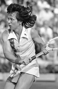 Billie Jean King, Tennis, former Wimbledon winner downed Kerry Reid 6-3, 7-5 after a sudden death tiebreaker in the 2nd set during the Semi-finals singles match in the Family Circle Magazine Cup tournament at Hilton Head Island's Sea Pines resort on April 2, 1977. King is attempting a comeback after knee surgery. ©AP. CR: Kathy Willens.