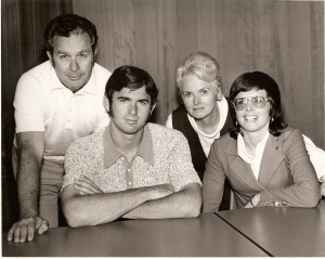 Billie Jean King with family: (l to r) Bill Moffitt (father), Randy Moffitt (brother), Betty Moffitt (mother), and Billie Jean King (nÈe Moffitt). ©Billy Jean King Enterprises.