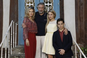"(Left to right.)  Michelle Pfeiffer, Robert DeNiro, Dianna Agron and John D'Leo star in Relativity Media's ""THE FAMILY"". ""  © EuropaCorp. TF1 Films Production. Grive Productions. CR: Jessica Forde"