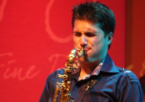 Vincent Ingala showing off his saxophone prowess during a recent show. ©Michael Hixon.