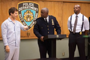"BROOKLYN NINE-NINE: Capt. Ray Holt (Andre Braugher, C) and Sgt. Terry Jeffords (Terry Crews, R) are annoyed by Jake's (Andy Samberg, L) antics in ""BROOKLYN NINE-NINE."" ©Fox Broadcasting Co. Cr: Eddy Chen/FOX"