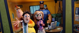 "(l-r) Brent (Andy Samberg), Flint (Bill Hader), Sam (Anna Faris) and Earl (Terry Crews) in Sony Pictures Animation's ""CLOUDY WITH A CHANCE OF MEATBALLS 2."" ©Sony Pictures Animation."