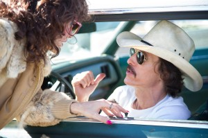 (l to r) Jared Leto as Rayon and Matthew McConaughey as Ron Woodroof in Jean-Marc Vallée's fact-based drama, DALLAS BUYERS CLUB. ©Focus Features. CR: Anne Marie Fox.