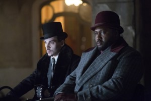 "(l-r) Jonathan Rhys Meyers as Alexander Grayson, Nonso Anozie as R.M. Renfield in the NBC Series ""DRACULA."" ©NBCUniversal Media. CR: Jonathon Hession."