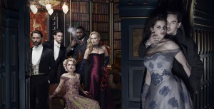 "(l-r) Thomas Kretschmann as Abraham Van Helsing, Oliver Jackson-Cohen as Jonathan Harker, Katie McGrath as Lucy Westenra, Nonso Anozie as R.M. Renfield, Victoria Smurfit as Lady Jayne Wetherby,  Jessica De Gouw as Mina Murray/Ilona, Jonathan Rhys Meyers as Dracula, Alexander Grayson, Vlad Tepes in ""DRACULA."" ©NBCUniversal. CR: Nino Munoz"