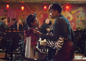 "Gloria (Jennifer Hudson, right) repnmands Mister (Sklyan Brooks) for talking back to her in ""The Inevitable Defeat of Mister and Pete."" ©Lionsgate Entertainment."