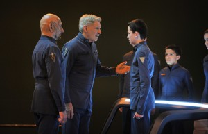 "(L-R) BEN KINGSLEY, HARRISON FORD, ASA BUTTERFIELD and ARAMIS KNIGHT star in ""ENDER'S GAME."" ©Summit Entertainment. CR: Richard Foreman."