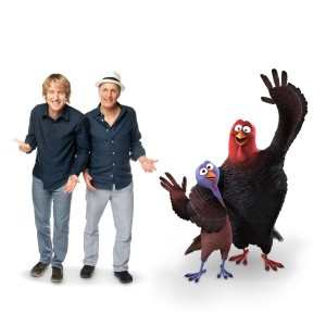"(L-R) Owen Wilson, Woody Harrelson, REGGIE (voiced by Owen Wilson) and JAKE (voiced by Woody Harrelson) in Relativity Media's ""FREE BIRDS.""  Image Courtesy of Reel FX and Relativity Media  ©2013 Turkey's Films, LLC. All Rights Reserved."