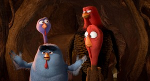 "(Front) AMOS (Carlos Alazraqui, left) and FURLEY, with (Back) REGGIE (Owen Wilson, left) and JAKE (Woody Harrelson, right) in Relativity Media's ""FREE BIRDS.""  ©Turkey's Films LLC. CR: Reel FX and Relativity"