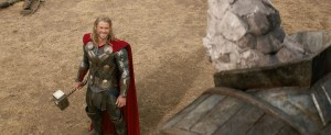 "Thor (Chris Hemsworth) and a Kronan in ""Marvel's Thor: The Dark World. ""© 2013 MVLFFLLC. TM & © 2013 Marvel. All Rights Reserved."